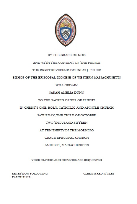 Sarah Dunn Ordination Invitation Grace Episcopal Church Amherst Ma